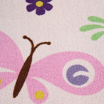 Infantastic Kinderteppich Schmetterling in Größe 80/150 cm/120/170 cm/160/230 cm/200/290 cm in bunten Farben aus widerstandfähigem Polyester mit 7 mm Höhe -