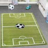 Kinder Teppich Fussball Spielen Kinderzimmerteppiche Fussballplatz in Grün Creme, Größe:80x150 cm -
