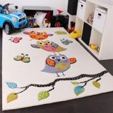 Kinder Teppich Niedliche Eulen Creme Blau Orange Grün, Grösse:160x230 cm -