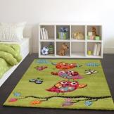 Kinder Teppich Niedliche Eulen Grün Creme Rot Blau Orange, Grösse:120x170 cm -