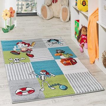 Kinder Teppich Pirat mit Papagei Schatzkiste Kinderzimmer Karo Grün Creme Türkis, Grösse:80x150 cm -