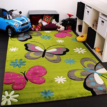 Kinder Teppich Schmetterling Design Grün Creme Rot Pink, Grösse:120x170 cm -