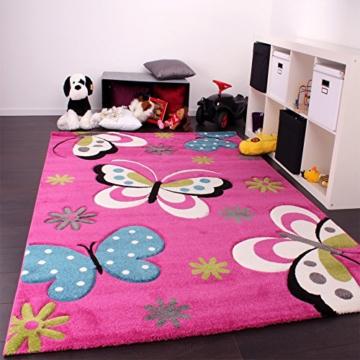 Kinder Teppich Schmetterling Design Grün Rot Grau Schwarz Creme Pink, Grösse:160x230 cm -