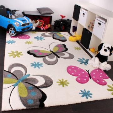 Kinder Teppich Schmetterling Design Pink Grün Blau Grau Creme Grösse 120x170 Cm Kinderteppich Vergleich