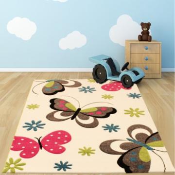 Kinder Teppich Schmetterling Design Pink Grun Blau Grau Creme