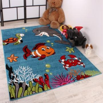 Kinderteppich Clown Fisch Aqua Kinderzimmer Teppich In Türkis Grün Creme Pink, Grösse:120x170 cm -