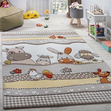 Kinderteppich Kinderzimmer Lustige Bauernhof Tiere Konturenschnitt Beige Grau , Grösse:160x230 cm -