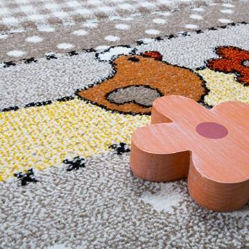 Kinderteppich Kinderzimmer Lustige Bauernhof Tiere Konturenschnitt Beige Grau , Grösse:140x200 cm -