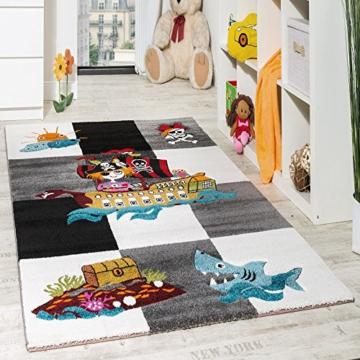 Kinderteppich Pirat Kurzflor mit Konturenschnitt Karo Design Grau Schwarz Creme, Grösse:140x200 cm -