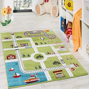 Kinderteppich Spielteppich City Hafen Straßenteppich Stadt Straße Grau Grün, Grösse:120x170 cm -