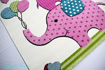 Kinderteppich grün rosa  Kinderteppich Spielteppich Kinderzimmer Teppich Elefanten Design ...