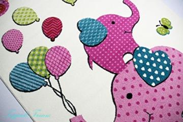Kinderteppich Spielteppich Kinderzimmer Teppich Elefanten Design Creme Rosa Pink Grün Türkis Schwarz Größe 160x230 cm -