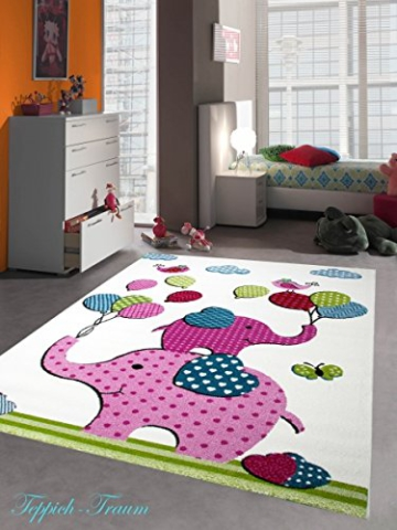 kinderteppich spielteppich kinderzimmer teppich elefanten design creme rosa pink gr n t rkis. Black Bedroom Furniture Sets. Home Design Ideas