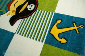 Kinderteppich Spielteppich Kinderzimmer Teppich Pirat Design mit Konturenschnitt Türkis Weiss Grün Rot Schwarz Gelb Pink Größe 160x230 cm -