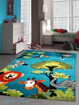 Kinderteppich Spielteppich Kinderzimmer Teppich Zootiere niedliche bunte Tiere mit Elefant Giraffe Löwe Zebra Affe Türkis Orange Grün Grau Rot Creme Schwarz Größe 120x170 cm -