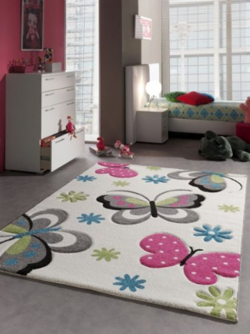 Kinderteppich Spielteppich Schmetterling Design Creme Pink Grau Grün Blau Größe 140x200 cm -
