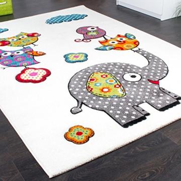 Kinderzimmer Teppich Niedliche Bunte Zootiere Eulen mit Elefanten Mehrfarbig, Grösse:80x150 cm -