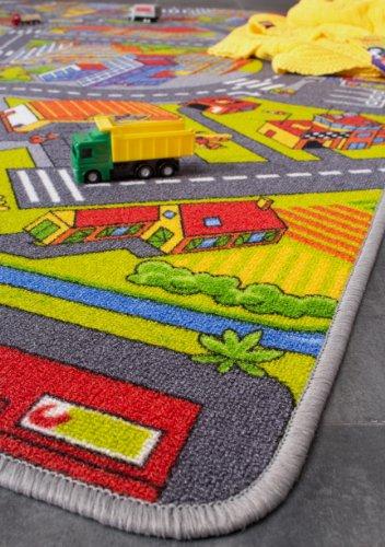 misento 293308 Kinderteppich Straße Straßen Auto Spiel verschiedene Größen Auto Stadt, 95 x 200 cm, grau -