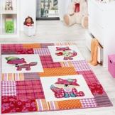 Teppich Kinderzimmer niedliche Füchse Kinderteppich Fuchs Mehrfarbig Pink Creme, Grösse:80x150 cm -