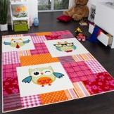 Teppich Kinderzimmer Trendige Eulen Kinderteppich Eule Mehrfarbig Pink Creme, Grösse:120x170 cm -